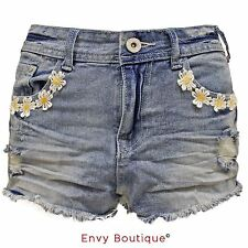 LADIES DAISY LACE FLOWER CUT-OFF DENIM WOMENS SHORTS TROUSERS JEANS HOT PANTS