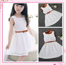 GIRLS KIDS CHRISTMAS PARTY LACE SKATER DRESS FLARED BELTED DRESSES SIZE 4 to 12Y