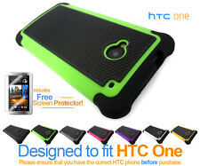 Tough Defender Heavy Duty Shock-Proof Protective Silicone Cover Case For HTC One