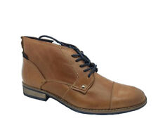 Mens Boots Lace Up Borelli Billy Tan/Navy Leather Upper  Boot Size UK 7-12 New