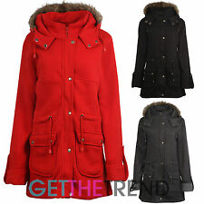 Womens Fur Lined Hooded Zipped Jacket Ladies Hooded Trench Fleece Lined Coat