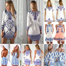 Sexy Womens Celeb Floral Short Playsuit Party Summer Mini Dress Long Top Romper