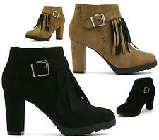 Ladies Tassel Fringe Platform Ankle Boots Womens High Heel Faux Suede Shoes Size