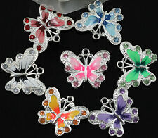 Silver Plated Enamel Crystal Rhinestone Butterfly Charms Pendant Jewelry DIY