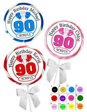 90TH BIRTHDAY PARTY FAVORS STICKERS  for lollipops  goody bags, favor boxes