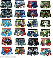 BOYS KIDS 100% COTTON CHARACTER NOVELTY COMIC BOXER SHORTS TRUNKS AGES 4-10 NEW