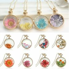 New Natural Real Dried Flower Round Clear Glass Locket Pendant Necklace Jewelry