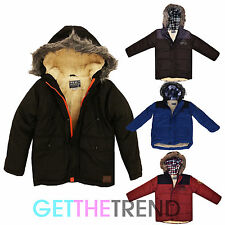 Boys Padded Fleece Jacket Hooded School Jacket Coat Kids Black Blue Zip Jacket
