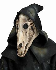 Horse Skull Skeletal Latex Animal Mask With Attached Hood Costume Accessory