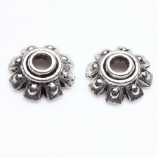 100/200 PCS 8x3mm Flower Shape Tibetan Silver Floral Bead Caps End Caps