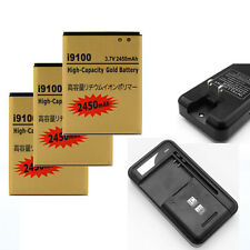 2450mAh High Capacity Li-ion Battery + Charger For Samsung Galaxy S2 i9100 Lot