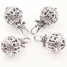 10/20Pcs Tibet Silver Korean Pattern Round Spacer Loose Bead Pendant DIY 10*20mm