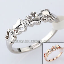Butterfly Fashion Band Ring 18KGP CZ Rhinestone Crystal Size 5.5-9