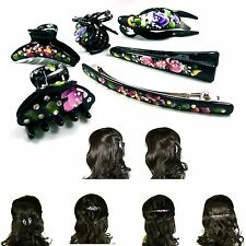 Hand Painted Flower Crystal Rhinestone Hair Claw Jaw Clip Clamp Pin Barrette New