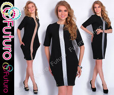 Cocktail Shift Dress With Pockets Short Sleeve Party Tunic Sizes 8-14 FA370