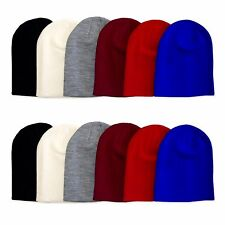 Unisex Plain Beanie Knit Winter Cuff Mens Womens Ski Cap Hat Fashion Warm New