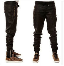 2015 Hot Mens Chic New Slim Fit Jogger Pants Hip Hop Skinny Faux Leather Pants
