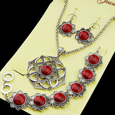 Red Turquoise Necklace Earrings Bracelet Jewelry Set Women Antique Silver Flower