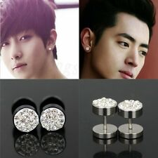 2Pcs Fashion Mens Womens Barbell Punk Stainless Steel Crystal Ear Studs Earrings