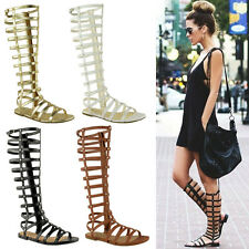 Women Cut Out Gladiator Sandals Flat Knee Boots Strappy Size