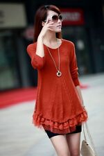 Women Loose Knitted Pullover Sweater Lace Long Sleeve Knitwear Top