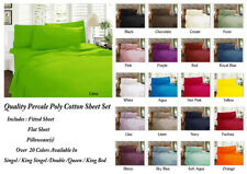 New Percale Sheet Set Fitted With 38cm Wall For All Bed Sizes - Color Choices