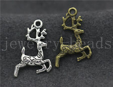 15/60/300pcs Tibet Silver/Bronze Lovely two-sided Deer Charms Pendant 20x14mm