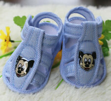 NewBorn baby shoe blue stripe mouse sandals Soft bottom infant shoes 0-14Months