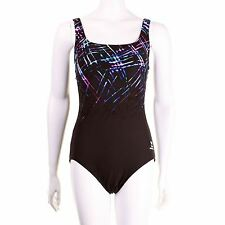 TYR Streamers Aqua Controlfit One Piece Swimsuit Swimming Costume Womens Purple-
