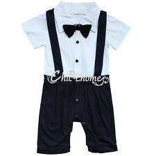 Baby Boys Formal Suit Gentleman Romper Jumpsuit Pants Outfit Clothes Set