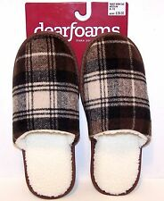 NEW Dearfoams MENs SIZE MED, LG Brown Plaid Scuffs Non Slip SLIPPERS ~Great Gift