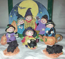 2 Halloween Decorative Mini Tea Set 8pc set! Cats, pumpkins, witch, scarecrows,