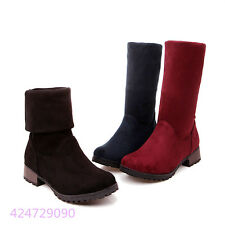 Womens Girls OL Mid Calf Boots Low Heels Pull On Shoes AU All Size Y1366