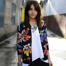 Hot Vintage Women Outwear Ladies Printed Zipper Blazer Jacket Coat Cardigan Tops