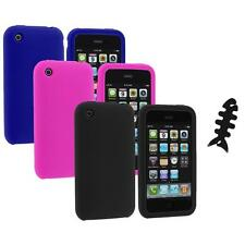 Color Silicone Rubber Gel Skin Case Cover+Cable Wrap for Apple iPhone 3G 3GS