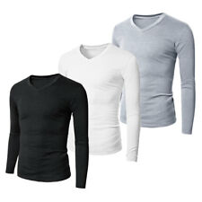 Mens Cotton Long Sleeve T-shirt V Neck Fitted Plain Casual Shirts Basic Tees