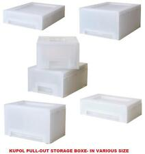 IKEA KUPOL PULL OUT STORAGE BOXES- WHITE- STACKABLE, CAN BE MOUNTED ON WALL TOO