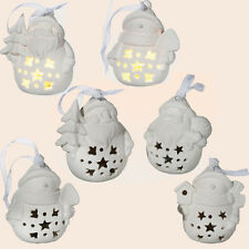 4 X CERAMIC CHRISTMAS LED HANGING LIGHTS TREE DECORATION XMAS FATHER SNOWMAN NEW