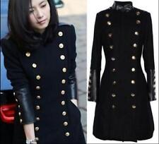 Womens Trench Coat Slim Fit Wool Blend Double Breasted Long Jacket Military Coat