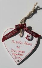 1st First Christmas as Mr & Mrs Couple Tree Decoration Plaque Sign Gift Wedding