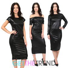 Womens Black Wetlook PVC Midi Bodycon Dress PU Off Shoulder Cap Sleeve PVC Dress