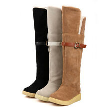 New Women's Low Heel Knee-High Boots Winter Warm Fur Lined Boots Shoes Plus Size