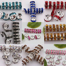 Wholesale 50/100Pcs Round Czech Crystal Rhinestone Spacer Beads Finding DIY 8mm