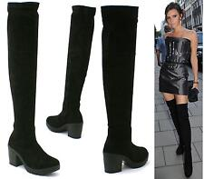 Shu Desire Ladies Black Over The Knee Thigh High Block Heel Platform Boots Size