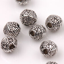 15/30PCS Round Carved Tibetan Silver Loose Spacer  Beads Charms Connectors 6mm