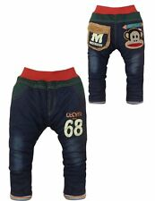 Kids Boys Denim Clothes Animals Jeans Casual Skinny Straight Trousers 1-5Y