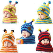Fashion Cute Bee Toddler Winter Baby Wool Hat Hooded Scarf Earflap Knit Cap
