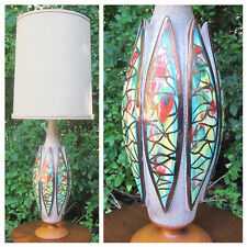 TALL Vtg Mid Century Table Lamp. Unique Colorful Retro Base! Optional Drum Shade