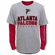 NWT NFL Atlanta Falcons Youth 2-in-1 Team Gray/Red Tee Shirts: Small(8) - XL(18)
