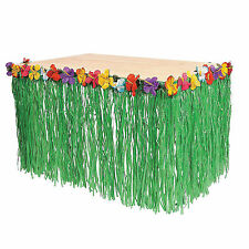 Hawaiian Luau Green Table Grass Flower Skirt 9ft Hibiscus Party Decorations New